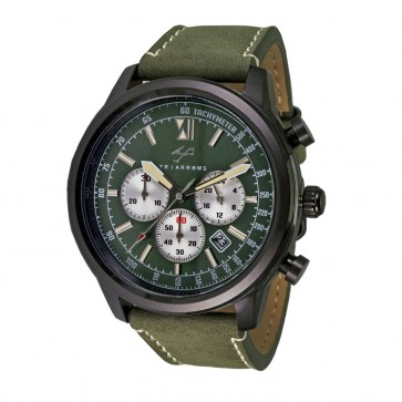 TRIARROWS TCN04 Army Green Quartz Chronograph Stop Watch Movement Green Leather Band Military Watches
