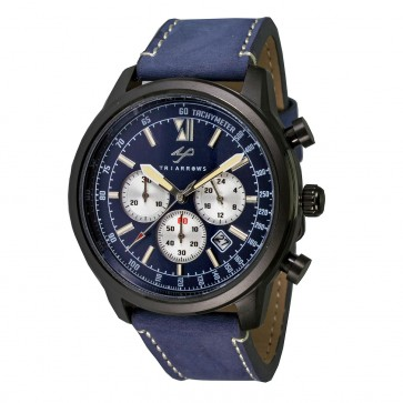 TRIARROWS TCN05 Blue Quartz Stop Watch Chronograph Movement Blue Leather Band Military Watches
