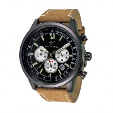 TRIARROWS TCN06 Black Quartz Chronograph Stop Watch Movement Light Brown Leather Band Military Watches