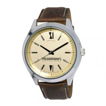 TRIARROWS TOL05 Yellow Quartz Movement Dark Brown Leather Band Dress Simple Watches