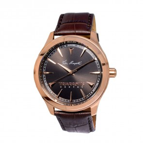 TRIARROWS TGY03 Rose Gold Quartz Movement Dark Brown Crocodile Pattern Leather Band Gents Simple Watches