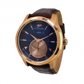 TRIARROWS TGY05 Blue Dial Rose Gold Case, Quartz Small Second Watch Movement Dark Brown Crocodile Pattern Leather Band Gent Dress Watches