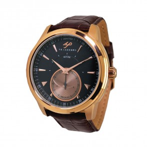 TRIARROWS TGY06 Black Dial Rose Gold Case, Quartz Small Second Watch Movement Dark Brown Crocodile Pattern Leather Band Gent Dress Watches
