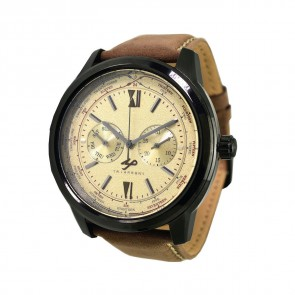 TRIARROWS TPT03 Yellow Quartz Multifunction Watch Movement Dark Brown Leather Band Casual Dress Watches