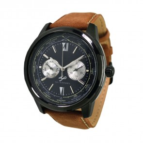 TRIARROWS TPT06 Black Quartz Multifunction Watch Movement Light Brown Leather Band Casual Dress Watches